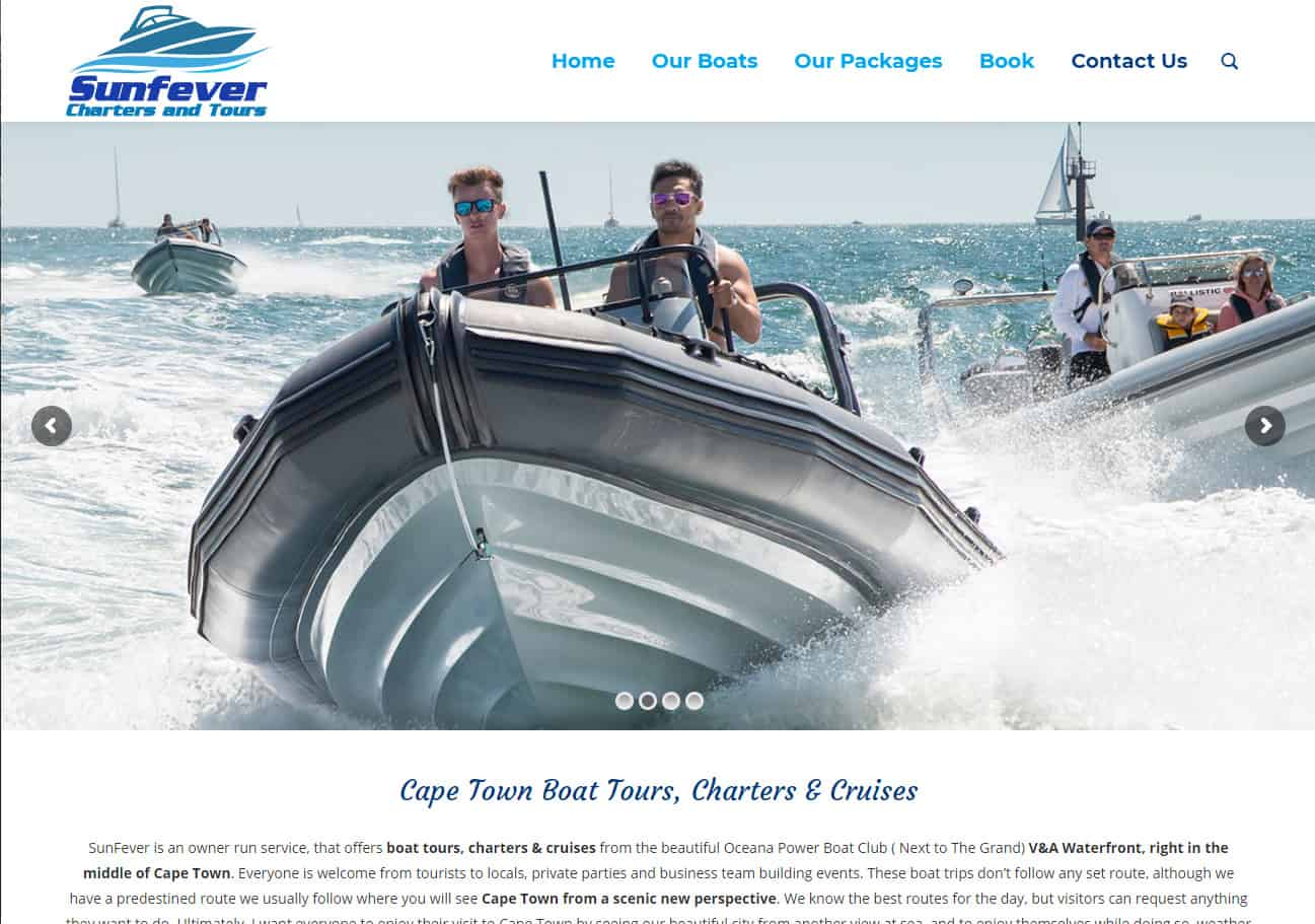 Sunfever Boat Charters Website