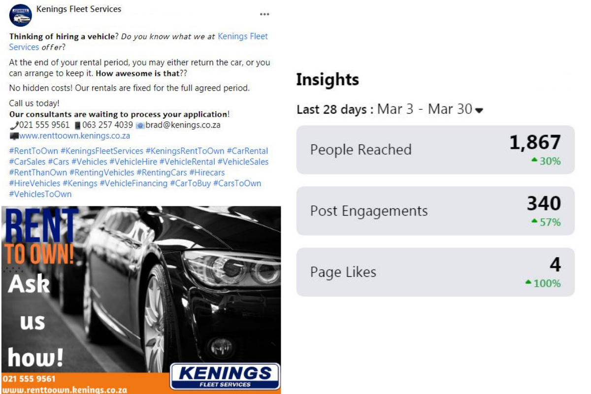 Kennings Rent to Own Facebook Page Posts